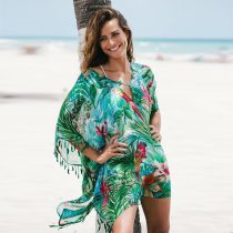 Bird Pattern Chiffon Loose Beach Kaftan