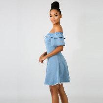 Off Shoulder A-Line Denim Girly Raw Dress