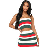 Sexy Strippes Colorful Bandeau Top and Skirt