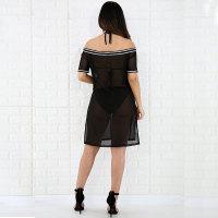 Off Shoulder Black Cover-Up Mesh Dress With Contrast Trim