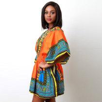 African Print Orange Dashiki Women Dress