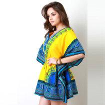 African Print Yellow Dashiki Women Dress