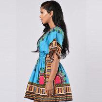 African Printed Blue Dashiki Women Dress