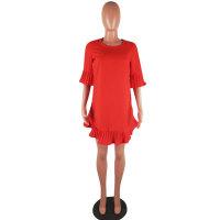 Women Ruffles Chiffon O-Neck Loose Mini Dress