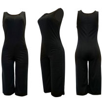 Open Back Solid Color Sleeveless Pocket Jumpsuits