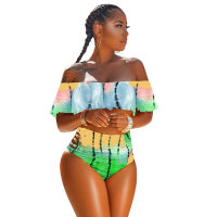 Ruffle Sleeve Off Shoulder Print Two-piece Swimwear