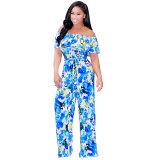 Blue Off Shoulder Floral Pattern Tie Waist Casual Jumpsuit