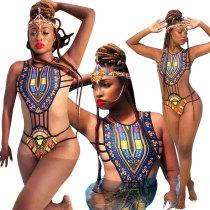 African Dashiki One-Piece Sexy Swimwear