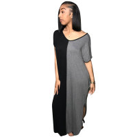 Positive And Negative Wear Stitching Split Arc Dress