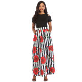 African Print Short Sleeve Blouse and Long Skirt