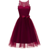 Women's Fashion A-line Lace Sleeveless Cocktail Dress