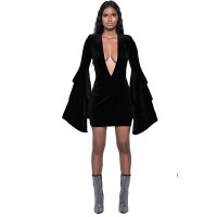 Deep-V Sexy Velvet Dress with Wide Cuffs