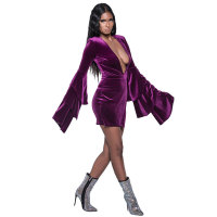 Deep-V Sexy Velvet Dresses With Wide Cuffs