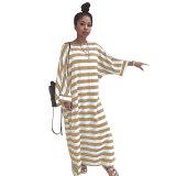 Lazy & Lovely Striped Print Linen Dress