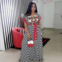African Striped Embroidery Roses O-Neck Long Dress