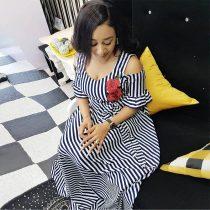 Striped Rose Flower Embroidery Elegant Maxi Dress