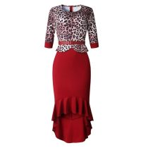 Occassional Leopard Upper Mermaid Dress with Half Sleeves