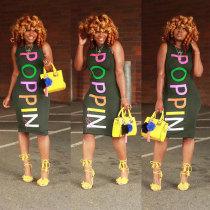 Colorful Printed Letter Sleeveless Midi Dress