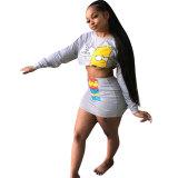 Cartoon Crop Top And Skirt Set