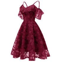Women's Spaghetti Straps Lace Sleeveless A-Line Dress