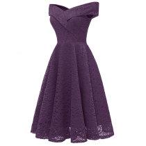 V-Neck Sleeveless Lace A-Line Cocktail Dress