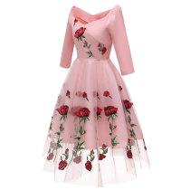Women's Elegant 3/4 Sleeve Lace Evening Dress