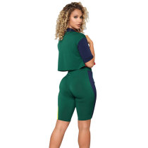 Colorful Soul Color-block Shorts Set - Green/Multi