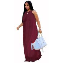 Adjustable Halter Maxi Dress With Pocket