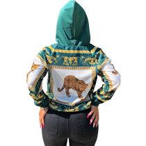 Casual Animal Printed Hoodies Top
