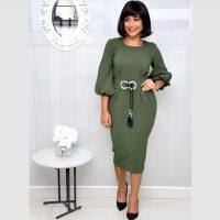Solid Color Lantern Sleeve Belted OL Midi Dress