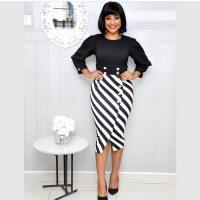 Striped Splice Wrist Sleeve Office Lady Midi Dress