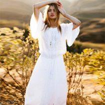 Hollow Long Sleeves V-neck Maxi Dress