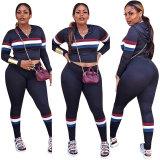 Sexy Striped Two-Piece Sports Pants Set