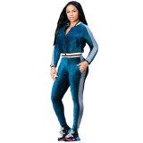Zip-Front Top & Side-Stripe Pants Set