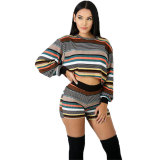 Multi Striped Long Sleeve Top and Shorts