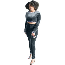 Velvet Sweatshirt Trousers Casual Two Pieces