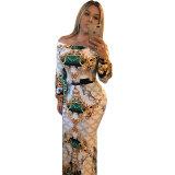 Vintage Printed Off Shoulder Maxi Dress