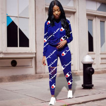 Casual Printed Sport Two Piece Set