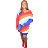Stripe Print Color Block Long Sleeve Mini Dress