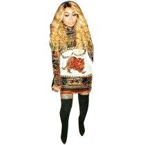 African Animal Print Casual Mini Dress