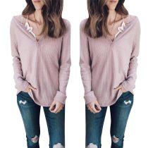 Casual Long Sleeves Pink T-shirt