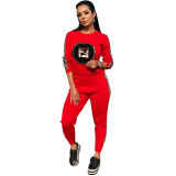 Sequins Logo Side-Print Sweatshirt & Pants Set