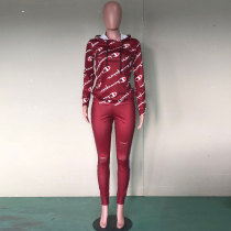 Fall Winter Printed Stitching 2 Pieces Set