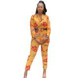 Fashion Print Zipper Two Pieces Set