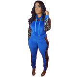 Hooded Sequins Sports Two Piece Set