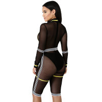 Classic Mesh See Through Stitching Rompers