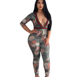 Deep V Printed Sexy Jumpsuit