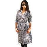 Plaid Double Breasted Turndown Collar Long Coat