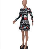 Long Sleeve O Neck Christmas Dress