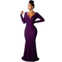 Deep V Neck Long Sleeve Galaxy Diva Evening Dress